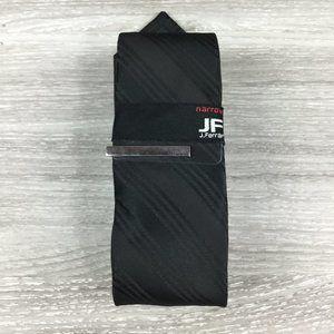 COPY - JF J. Ferrar Black Striped Narrow Tie